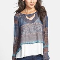 Lush Scoop Back Print Woven Tee (Juniors) | Nordstrom