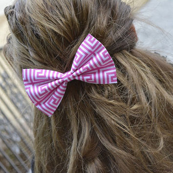 Pink hair bow,pink Greek key hair Bow, bows for hair, girls Hair bows, fabric bows, Hair Bow for teens and women Ask a Question