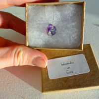 Natural Purple Amethyst Pendant and 14k Gold or Sterling Silver Charm Necklace - February Birthstone