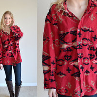 Vintage Red Tribal Aztec Print Long Sleeve Shirt Navajo Style Long Sleeved Womens Mens Hipster Tumblr Ethnic Southwestern Print Geometric