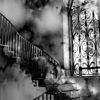 "Black and White Photography, Surreal Gothic Staircase, Spooky Haunting Eerie, Fantasy Fine Art Photography 8"" x 12"""