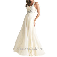One Shoulder Bridal Bridesmaid Wedding Formal Long Prom Gowns Ball Evening Dress