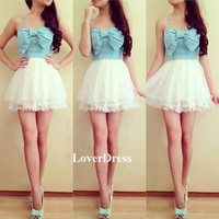 Mini Party Dress, Cute Sweetheart Short Party Dress / Homecoming Dress With Bow