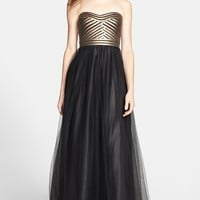 Aidan Mattox Strapless Fitted Bodice Mesh Gown