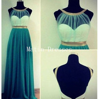 Custom Made Green Backless Long Prom Dresses, Bridesmaid Dresses, Formal Dresses, Dresses for Prom