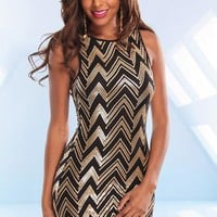 Gold and Black Zig Zag Sequin Dress with Low Back