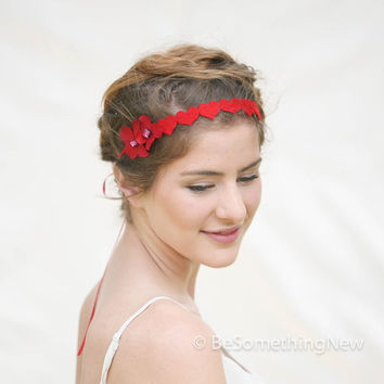 Valentine Red Hearts and Flowers Headband for Adults and Teens, Valentines Day Fashion, Hair Accessory, Kids Headband