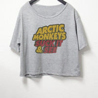 Arctic monkeys, crop top, grey color, women crop shirt, screenprint tshirt, graphic tee