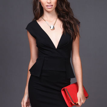 PANELED PEPLUM DRESS