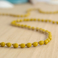 Long beaded necklace. Mustard yellow crocheted jewelry