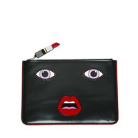 Yazbukey Leather Face Clutch - Black Leather Clutch - ShopBAZAAR
