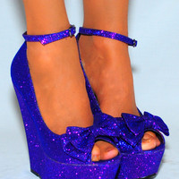 PURPLE GLITTER SPARKLY BOW BOWS ANKLE STRAP PLATFORMS HIGH HEELS WEDGES SHOE