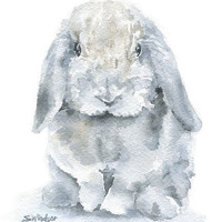 Watercolor Bunny Painting Giclee Print - 5 x 7 - Nursery Art - MIni Lop Rabbit