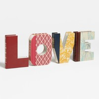 'Love' Hand-Carved Book Shelf Art