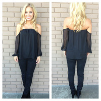 Black Off Shoulder 3/4 Sleeve Blouse