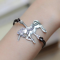 Unicorn bracelet,retro silver Unicorn pendant bracelet,brown leather bracelet