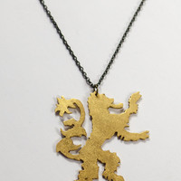 Harry Potter Gryffindor/Game of Thrones Lannister Lion Frosted Brass Necklace