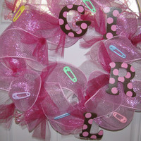 Baby Birth Deco Mesh Wreath