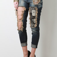 Patched Boyfriend Jeans