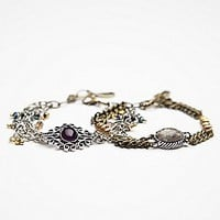 Stone and Mixed Chain Double Bracelet