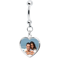 Full Color Heart Custom Photo Belly Ring | Body Candy Body Jewelry