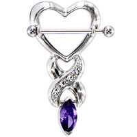Purple Gem MARQUISE HEART Nipple Shield | Body Candy Body Jewelry