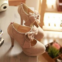 hot sale!!!new fashion women's shoes round head bowknot high heels two colors #9