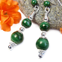 Malachite Earrings Sterling Silver Green Handmade Gemstone Jewelry | PrettyGonzo - Jewelry on ArtFire