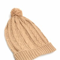 Pom Pom Topped Knitted Beanie