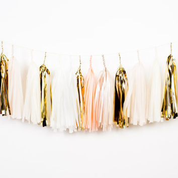 Peach Bellini Tassel Garland (Peach and Champagne)