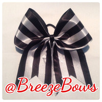 Black & White Striped Cheer Bow
