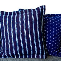 Blue pillow Indigo blue navy tie dye cotton cushion set Square 48cm 19 inches Dark blue home decor Ethnic style homeware Minimal luxe Boho
