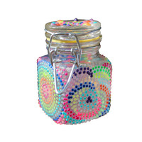Glow in the Dark, Geometric, Pink, Orange, Yellow, Green, Blue, Purple, Hand-Painted, Glass Stash Jar
