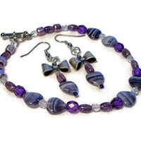Bracelet and Earrings Set Czech Glass Purple Hearts Bows Handmade | kathisewnsew - Jewelry on ArtFire