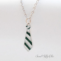 Slytherin Tie Necklace, Hand Painted Harry Potter Slytherin Tie Necklace, Green Silver Tie Necklace, Harry Potter Jewelry