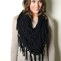 NAVY Bohemian Crochet with Tassels Infinity Loop Circle Eternity Chunky Cowl Snood Scarf