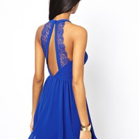 ASOS Lace Insert Halter Skater Dress