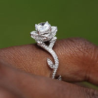 Blooming Work of Art - Beautiful Flower Rose Lotus Diamond Engagement Ring Setting Semi mount - 1.03 carat - 14K white gold - fL07