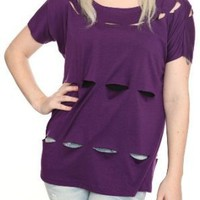 Laser Cut-Out Purple Top