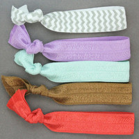 Elastic Hair Ties : Set of Five Elastic Ribbon Hair Ties, Ponytail, Top Knot, Bracelet, Spring, Pastels, Lilac, Periwinkle - ArtisanTree