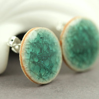 Teal Crackle Disc Earrings : Crackle Porcelain Stud Earrings, Artisan Tree, Handmade in Canada