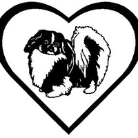 6 Inch Shih Tzu Heart Dog Canine Decal Sticker