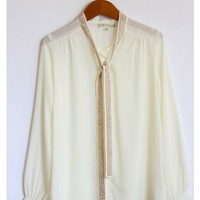 Studded Collar Tie Chiffon Blouse
