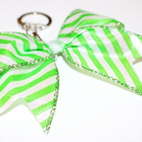 Green Stripped Keychain Bow with White Center and an opening and closing clasp