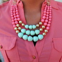 Mint/Pink Clementine Necklace