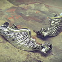 Silver Wings Feather Earrings To Upper Ear Cuff