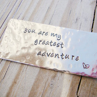 You are my greatest adventure nickel silver wallet keepsake card