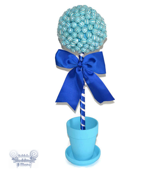 Large blue lollipop topiary candy from edible weddings more