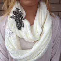 Ivory Knit Beaded Infinity Scarf