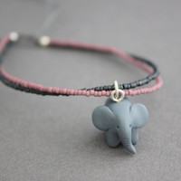 elephant bracelet polymer clay elephant totem bracelet light purple and blue